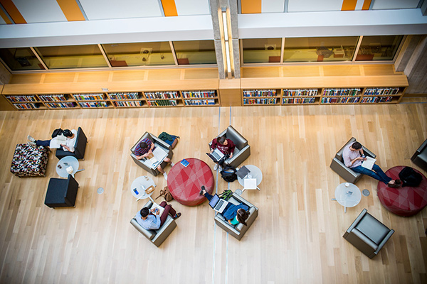 Aerial photo of students studying in Emory's Student Center.